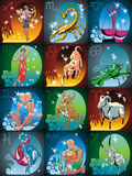 Zodiac. Al signs and constellations in colour Stock Illustration