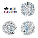 Zodiac Air Elements Set stock illustration