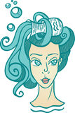 Zodiac Aquarius. Sign with wavy hair and a pitcher o the head Royalty Free Stock Photo