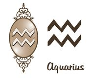Zodiac - Aquarius. Featuring one of the zodiac sign stock illustration