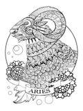 Zodiac Aries διάνυσμα βιβλίων χρωματισμού σημαδιών Στοκ εικόνα με δικαίωμα ελεύθερης χρήσης