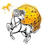 Zodiac Aries σημάδι Κύκλος ωροσκοπίων watercolor Στοκ Φωτογραφίες