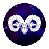 Zodiac Aries σημάδι, σύμβολο ωροσκοπίων, διανυσματική απεικόνιση Απεικόνιση αποθεμάτων