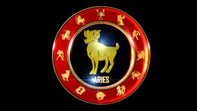 Zodiac aries background. This stock motion graphic features , the symbol for the Zodiac sign in Indian astrology. The Zodiac sign is surrounded with a red disc stock illustration