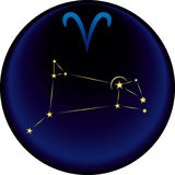 Zodiac Aries Sign. Aries constellation plus the Aries astrological sign Stock Image