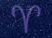 Zodiac Aries stars. Astronomy / Astrology / Space / Universe abstract background / backdrop illustration on Aries (The Ram) Zodiac constellation. Aries sign Stock Photos