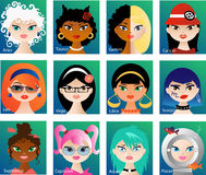 Zodiac astrological signs for horoscope Royalty Free Stock Image