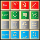 Zodiac Astrology Horoscope Signs. The twelve signs of the zodiac and the four elements, vector Royalty Free Stock Images