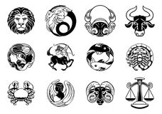 Zodiac astrology horoscope star signs icon set Royalty Free Stock Photo