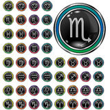 Zodiac astrology icon set. Psychedelic astrology, zodiac, and horoscope icons on round vector web buttons Stock Images