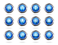 Zodiac astrology signs button set Stock Photo