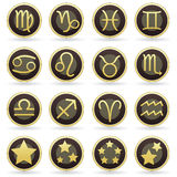 Zodiac astrology signs on vector button set Stock Photos