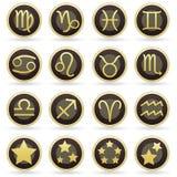 Zodiac astrology signs on vector button set. Zodiac astrology or horoscope signs on round brown and gold vector button set Stock Photos