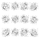 Zodiac astrology symbol set Royalty Free Stock Photos