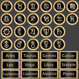Zodiac Astrology Web Buttons. Web buttons and bars for the twelve signs of the zodiac and planets from the solar system, vetor Stock Photo