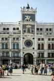 Venice, Italy - June 21, 2010: Zodiac astronomical Clock Tower Torre dell Orologio at st. Mark`s Square Piazza San Marko in Venice royalty free stock image