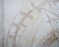 Zodiac background. With antique clock on ceramic tile Stock Photography