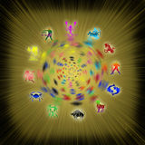 Zodiac background. All zodiac signs and yellows rays Stock Images