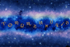 Zodiac background. Zodiac symbols over background with stars and with copy space Royalty Free Stock Photography