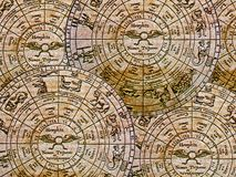 Zodiac background. Rough background of ancient zodiac wheels royalty free stock photography