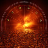 Zodiac background. Astrology illustration with zodiac signs reflected in water Stock Image