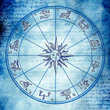 Zodiac background. Astrology wheel with zodiac signs in old vintage style Stock Photo