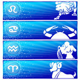 Zodiac banner set (03). Banner set with zodiac signs: Leo, Cancer, Aquarius & Aries Stock Images