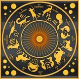 Zodiac black. Black plate representing zodiacal symbols and figures vector illustration
