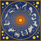 Zodiac blue. Blue plate representing zodiacal symbols and figures stock illustration