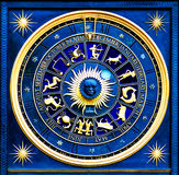 Zodiac Blue. Blue zodiac clock with gold deatail and decoration Royalty Free Stock Photos