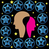 Zodiac blue star. Zodiac sign on blue star are around two head man and alot of little yellow star Royalty Free Stock Image