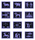 Zodiac Button Set Blue Royalty Free Stock Image