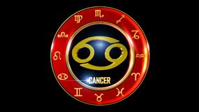 Zodiac cancer background. This stock motion graphic features , the symbol for the Zodiac sign in Indian astrology. The Zodiac sign is surrounded with a red disc stock illustration