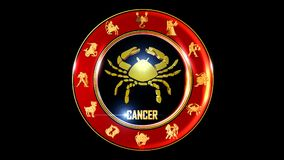 Zodiac cancer background. This stock motion graphic features , the symbol for the Zodiac sign in Indian astrology. The Zodiac sign is surrounded with a red disc vector illustration