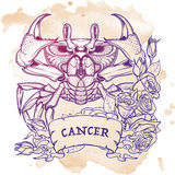 Zodiac Cancer. Linear drawing itolated on grunge background Royalty Free Stock Photo