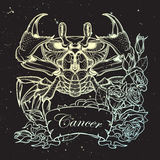 Zodiac Cancer. Linear drawing itolated on night sky background Stock Photo