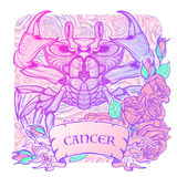 Zodiac Cancer. Pastel colors. Zodiac sign - Cancer. Accurate symmetrical drawing of the beach crab with a frame of roses. Concept art for tattoo, horoscope Royalty Free Stock Photos