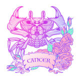 Zodiac Cancer. Pastel colors. Zodiac sign - Cancer. Accurate symmetrical drawing of the beach crab with a frame of roses. Concept art for tattoo, horoscope stock illustration