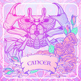 Zodiac Cancer. Pastel colors. Zodiac sign - Cancer. Accurate symmetrical drawing of the beach crab with a frame of roses. Concept art for tattoo, horoscope Stock Photos