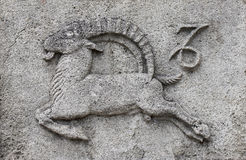 Zodiac - Capricorn or Sea-Goat. A stone relief royalty free stock image