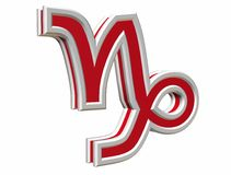 Zodiac capricorn simbol. Red zodiac capricorn simbol 3d on the withe background Royalty Free Stock Photography