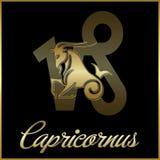 Zodiac- Capricornus. Black background of zodiac sign stock illustration