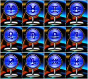 Zodiac cards. Set of the twelwe zodiac signs Royalty Free Stock Image