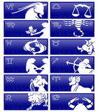 Zodiac cards. Blue cards with the 12 symbols of the zodiac isolated over white royalty free illustration