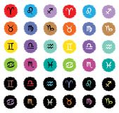 Zodiac cartoon icons. Vector illustration. Easy to change colors stock illustration