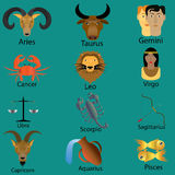Zodiac cartoon. Zodiac in cartoon style  on the green color floor Royalty Free Stock Images