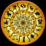 Zodiac chart in yellow. A yellow disc with the Zodiac chart Stock Image