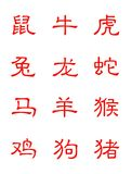 Zodiac in chinese character. Isolated on white background Stock Image