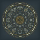 Zodiac circle with astrology symbols. Vector illustration. Zodiac circle with astrology symbols. Vector illustration Royalty Free Illustration