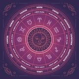 Zodiac circle with horoscope signs. Colorful gradient vector illustration. Zodiac circle with horoscope signs. Colorful gradient vector illustration Vector Illustration